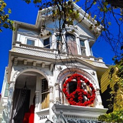 San Francisco Victorian and peace sign