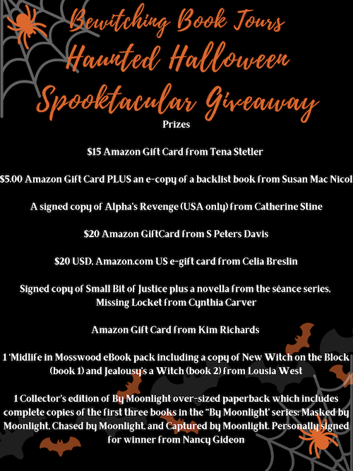 List of prizes in the Bewitching Book Tours Halloween Spooktacular 2020
